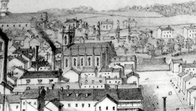 Detail from Edwin Whitefield's view of Kingston from Fort Henry captures the only image of what St. Paul's Church may have looked like before the fire. (Queen's University)