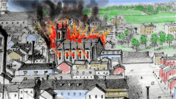 Interpretation of St. Paul's Church on fire, November 1854 (credit Jennifer McKendry) using a detail from Edwin Whitefield's view of Kingston from Fort Henry (Queen's University)