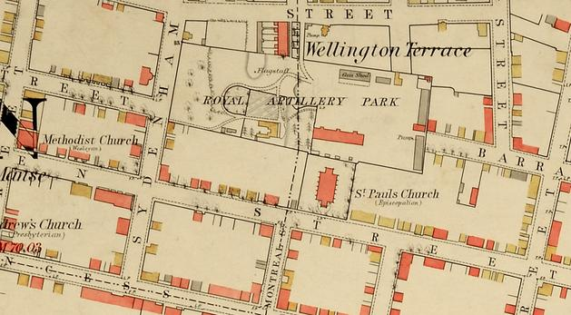 A detailed survey plan of Kingston was drawn by the Royal Engineers in the late-1860s and shows the location of St. Paul's Church backing onto Royal Artillery Park. Neither Montreal Street nor Bagot Street had yet been run through RA Park. (WO78/4680, National Archives, London)