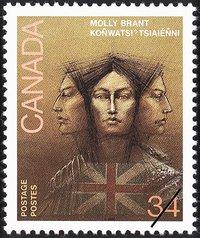 Molly Brant (Tekonwatonti), c1736 – 1796 (Canada Post, artist Sara Tyson)