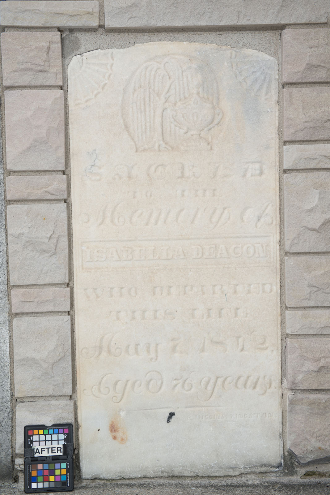 Stone for Isabella Deacon in Kingston's Lower Burial Ground