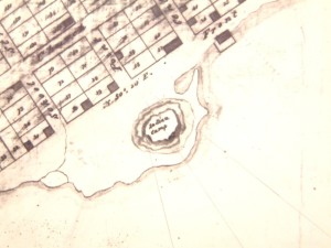 "1816 map showing ""Indian Camp"" on Mississauga Point, located at the foot of what is now Gore Street (National Map Collection)"