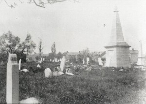 Upper Burial Ground (1893, prior to the establishment of the park) showing the Barclay monument (Queen's University Archives)