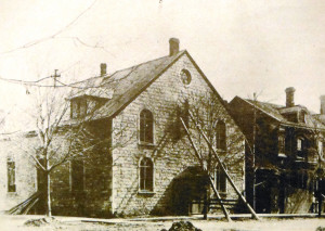 St. Joseph's Roman Catholic Church, c1880, built at the corner of William and Bagot Streets (Queen's University Archives)