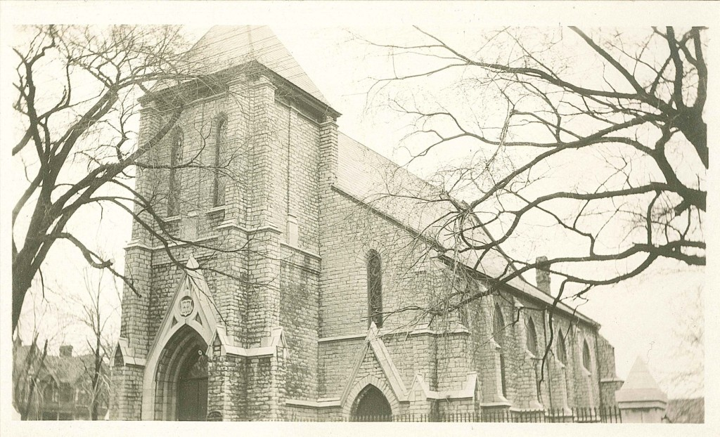 A real photo postcard (photograph with a printed postcard back for message and address) of St. Paul's Church, probably dating from c1910 during the postcard era. (Collection John Grenville)