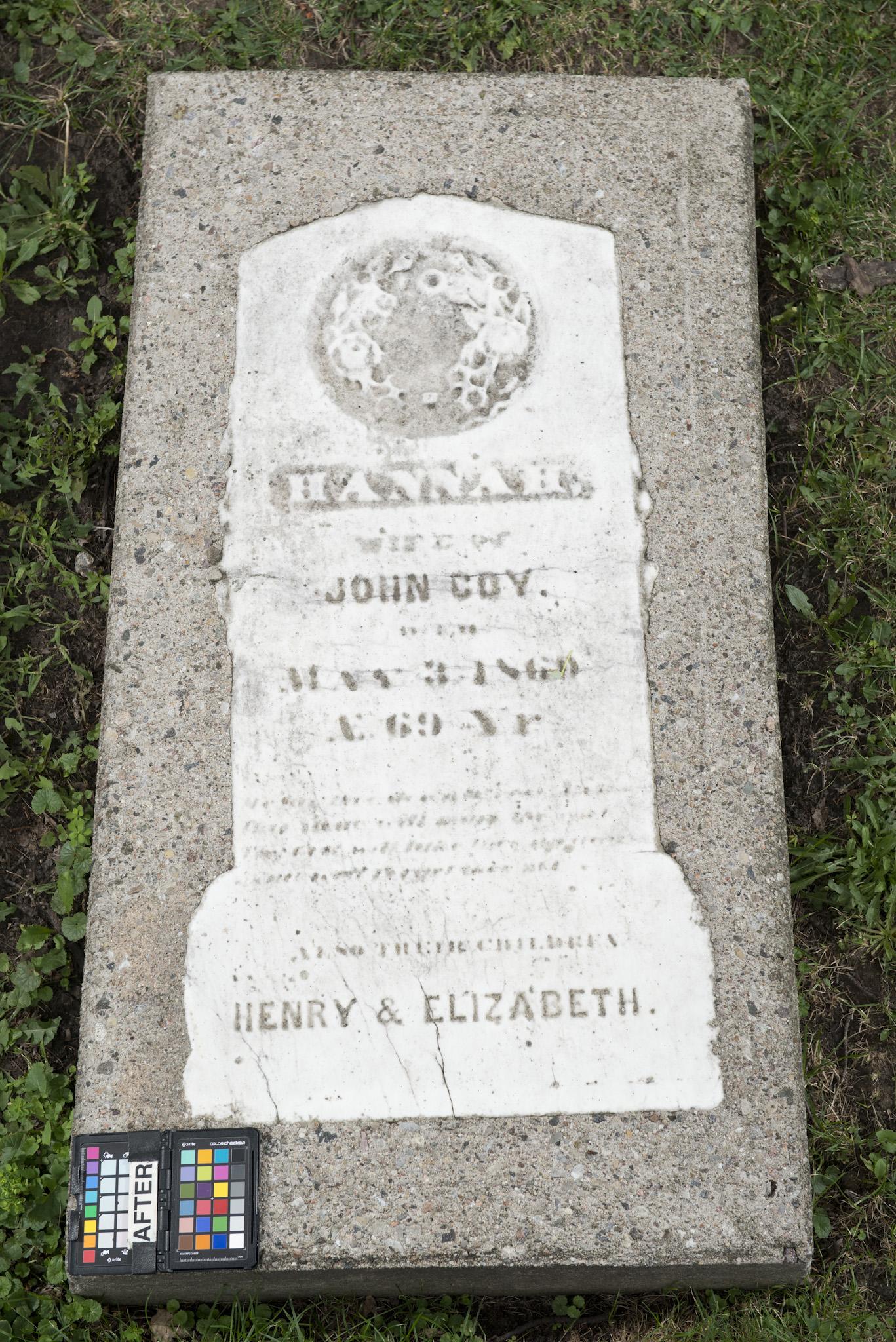Marker for Hannah Coy and children Elizabeth and Henry (Alex Gabov)