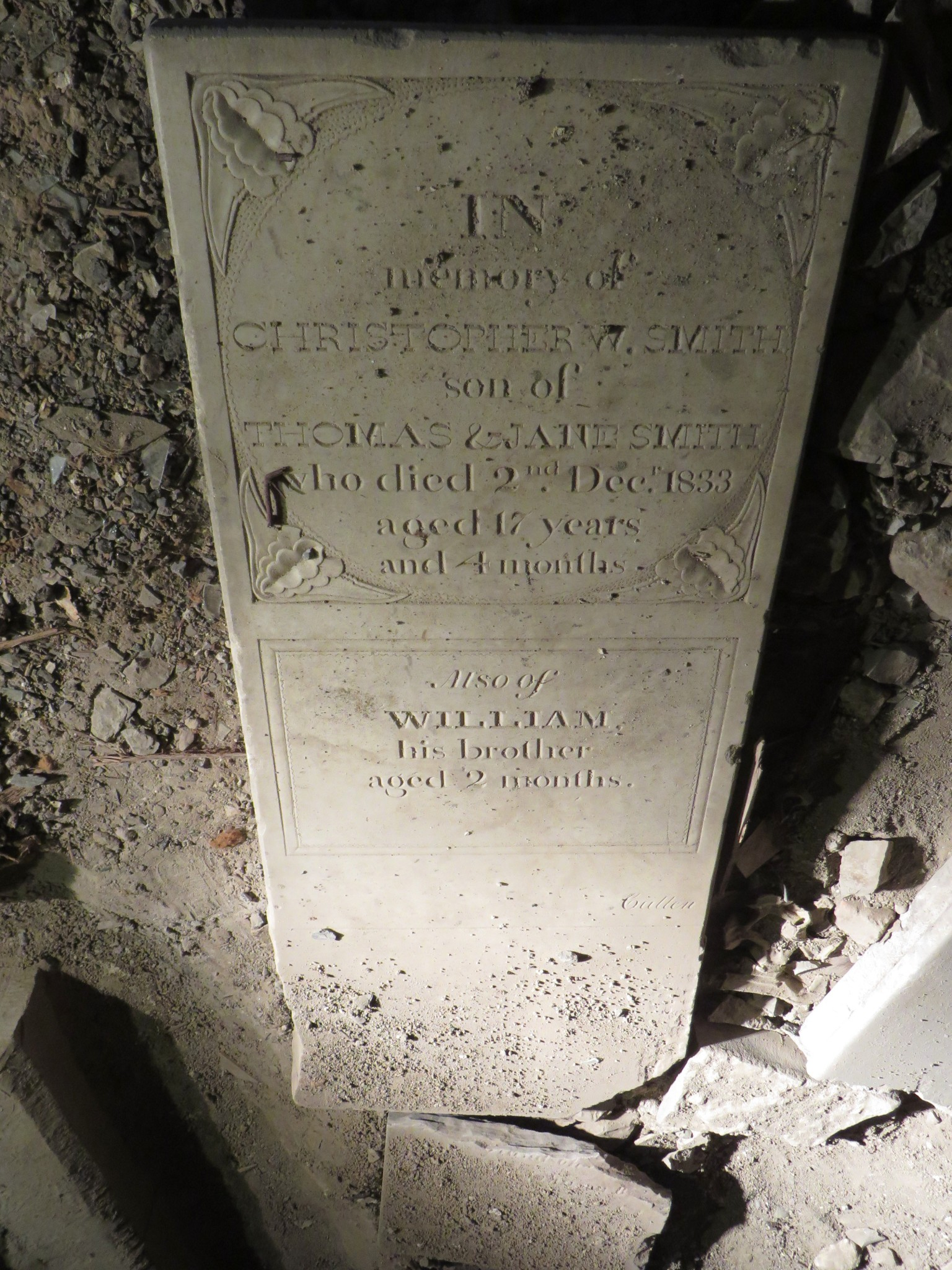 Marker for Christopher and William Smith, located under the church hall (Credit Mary Davis Little)
