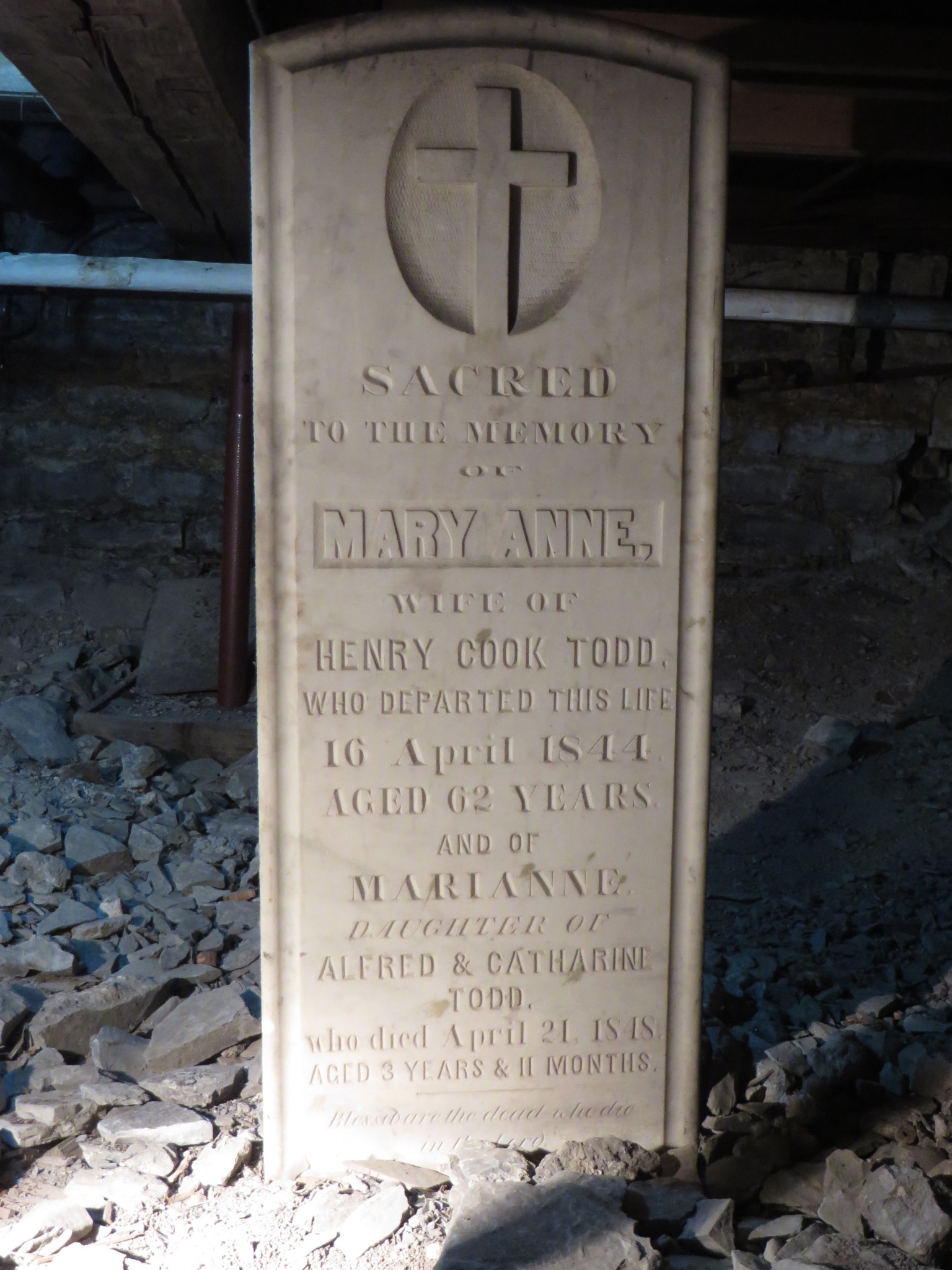 Marker for Mary Anne and Marianne Todd, under the church hall (Credit Mary Davis Little)