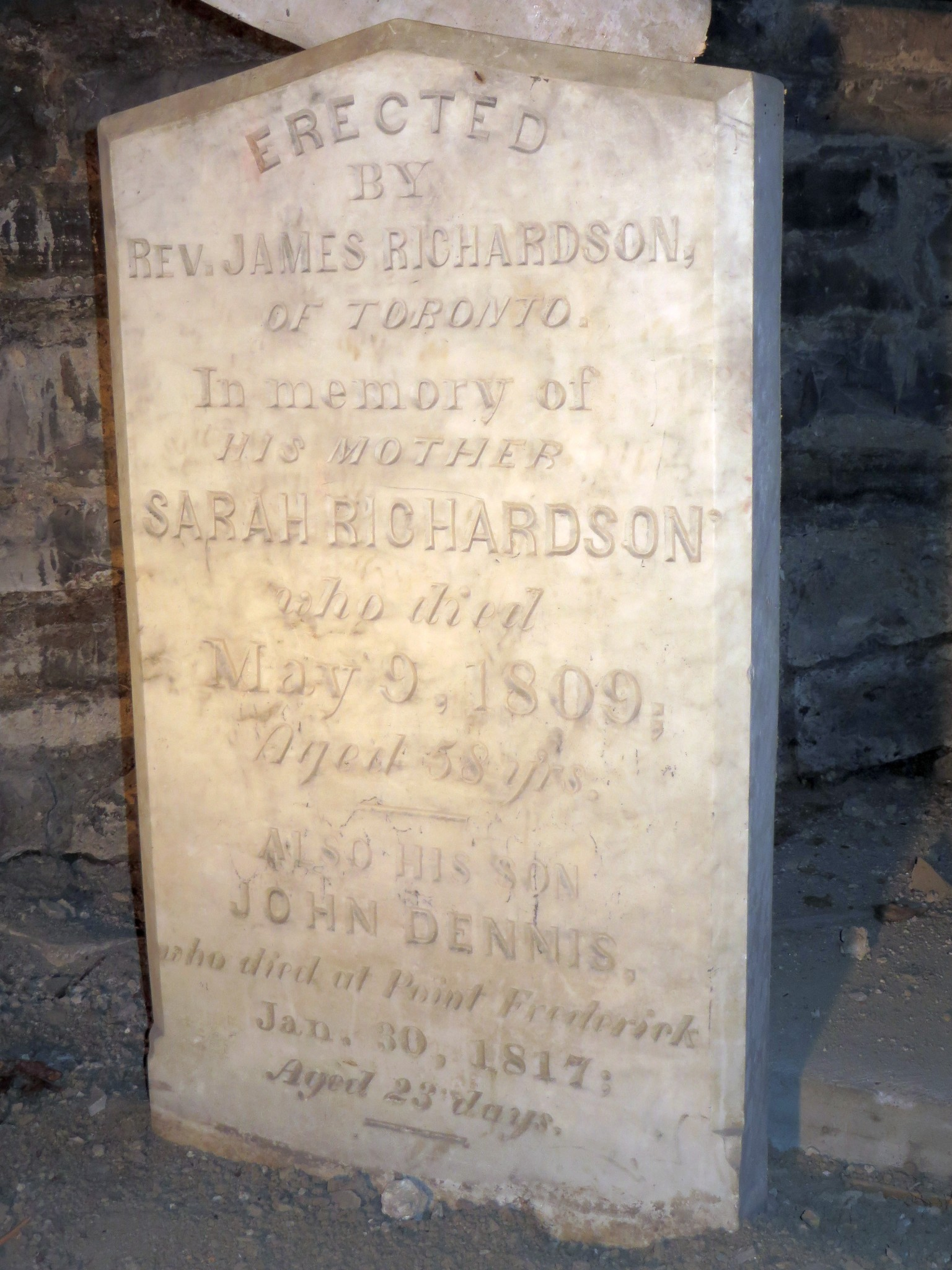 Marker for Sarah and John Dennis Richardson, under the church hall (Credit Mary Davis Little)