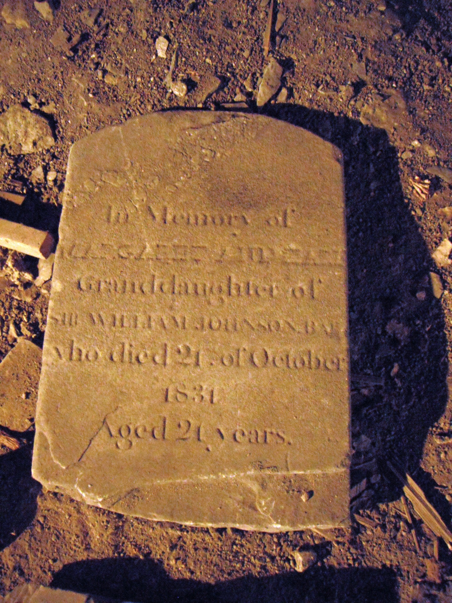 Marker for Margaret Earl, granddaughter of William Johnson and Molly Brant, under the church hall (Credit Mary Davis Little)