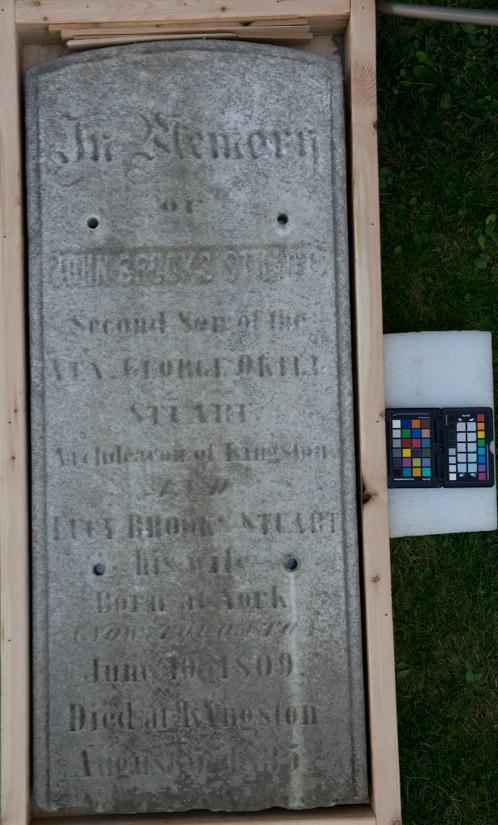 Marker for John Brooks Stuart, son of George Okill and Lucy Brooks Stuart